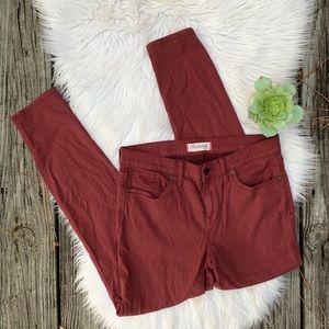 Madewell Dark Red Skinny Skinny Pants Jeans Sz 29